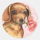 Valentine Rose Dachshund Classic Round Sticker