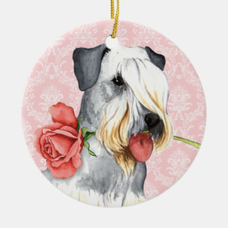 Valentine Rose Doberman Ceramic Ornament