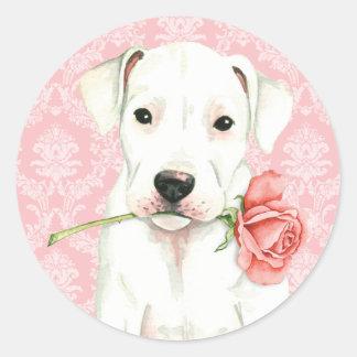 Valentine Rose Dogo Classic Round Sticker