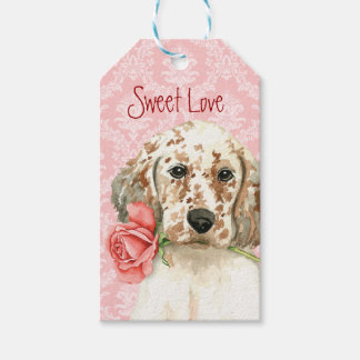Valentine Rose English Setter Pack Of Gift Tags