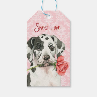 Valentine Rose Great Dane Pack Of Gift Tags