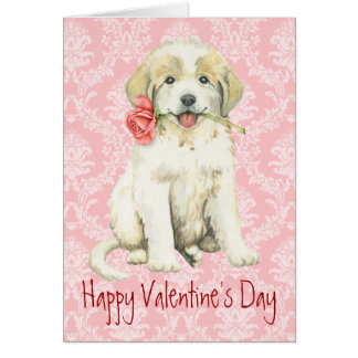 Valentine Rose Great Pyrenees Card