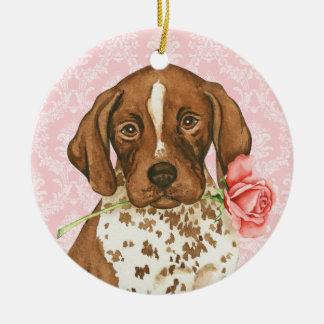 Valentine Rose GSP Round Ceramic Ornament