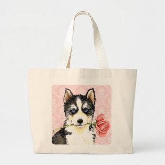 Valentine Rose Husky Large Tote Bag