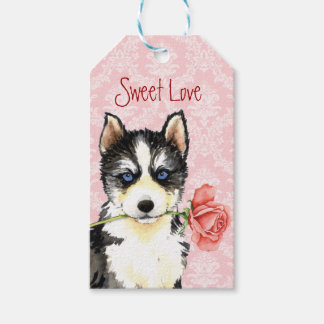 Valentine Rose Husky Pack Of Gift Tags