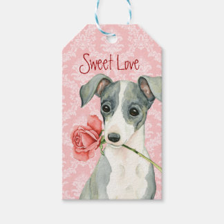 Valentine Rose Italian Greyhound Pack Of Gift Tags