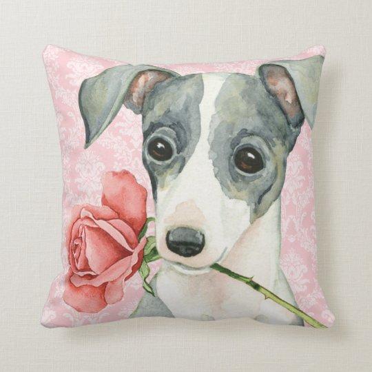Valentine Rose Italian Greyhound Throw Pillow