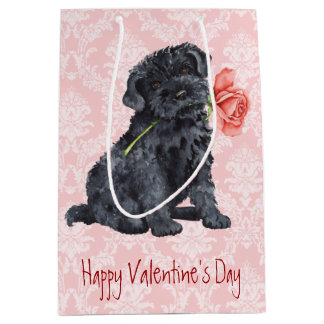 Valentine Rose Kerry Blue Terrier Medium Gift Bag