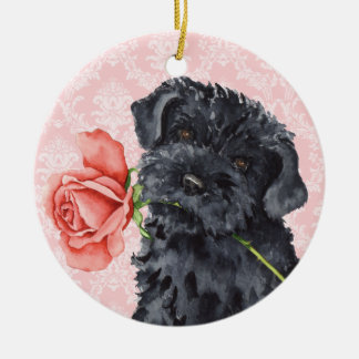 Valentine Rose Kerry Blue Terrier Round Ceramic Ornament