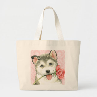 Valentine Rose Malemute Large Tote Bag