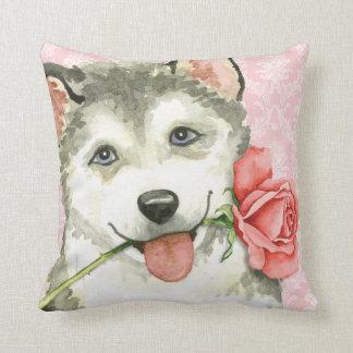 Valentine Rose Malemute Throw Pillow
