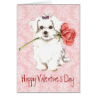 Valentine Rose Maltese Card