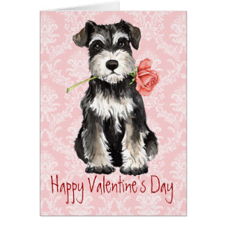 Valentine Rose Mini Schnauzer Card