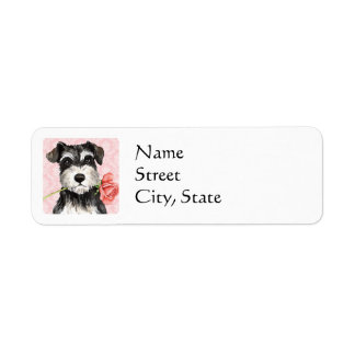 Valentine Rose Mini Schnauzer Return Address Label