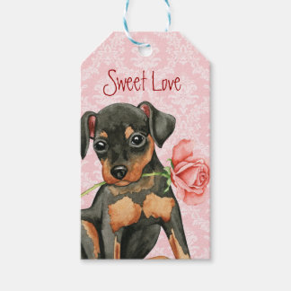 Valentine Rose Miniature Pinscher Pack Of Gift Tags