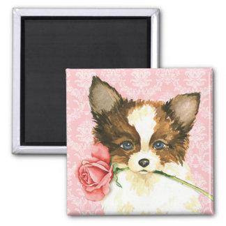 Valentine Rose Papillon Square Magnet