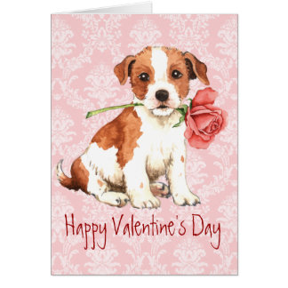 Valentine Rose Parson Russell Terrier Card