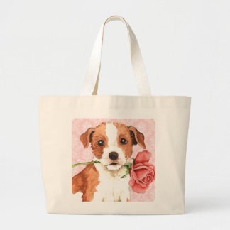 Valentine Rose Parson Russell Terrier Jumbo Tote Bag