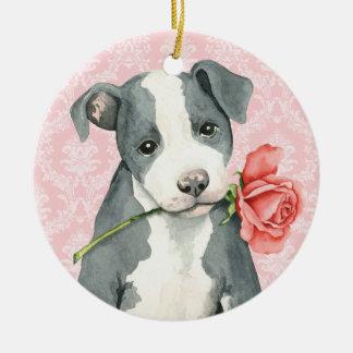 Valentine Rose Pit Bull Round Ceramic Ornament