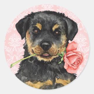 Valentine Rose Rottweiler Classic Round Sticker
