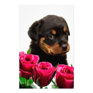Valentine Rose Rottweiler Puppy Customized Stationery