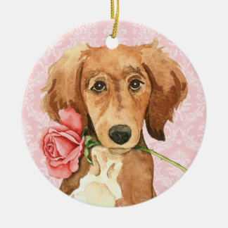 Valentine Rose Saluki Ceramic Ornament