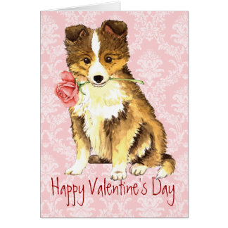 Valentine Rose Sheltie Card