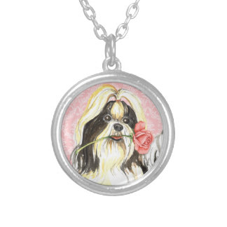 Valentine Rose Shih Tzu Silver Plated Necklace