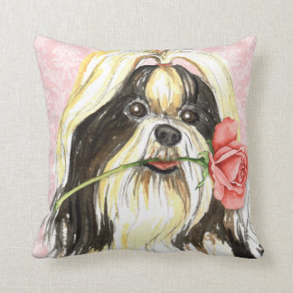 Valentine Rose Shih Tzu Throw Pillow