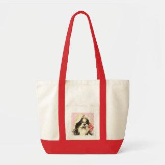 Valentine Rose Shih Tzu Tote Bag