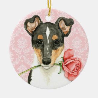 Valentine Rose Smooth Collie Ceramic Ornament
