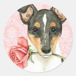 Valentine Rose Smooth Collie Classic Round Sticker