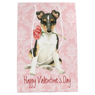 Valentine Rose Smooth Collie Medium Gift Bag