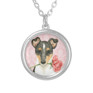 Valentine Rose Smooth Collie Silver Plated Necklace