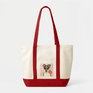 Valentine Rose Smooth Collie Tote Bag