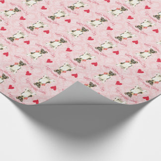 Valentine Rose Smooth Collie Wrapping Paper