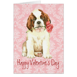 Valentine Rose St. Bernard Card