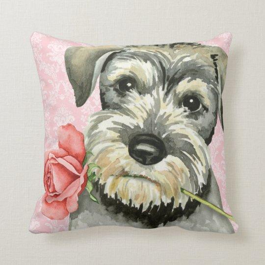 Valentine Rose Standard Schnauzer Throw Pillow