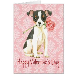Valentine Rose Toy Fox Terrier Card