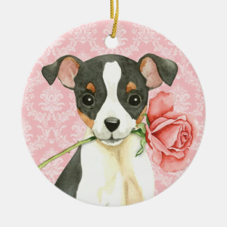 Valentine Rose Toy Fox Terrier Ceramic Ornament