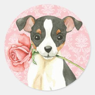Valentine Rose Toy Fox Terrier Classic Round Sticker