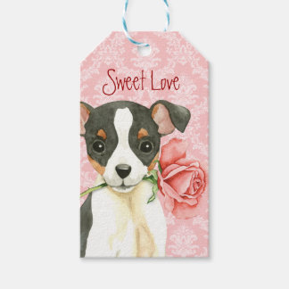 Valentine Rose Toy Fox Terrier Gift Tags