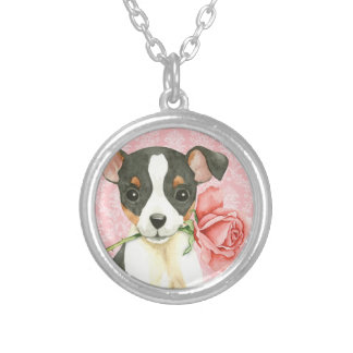 Valentine Rose Toy Fox Terrier Silver Plated Necklace