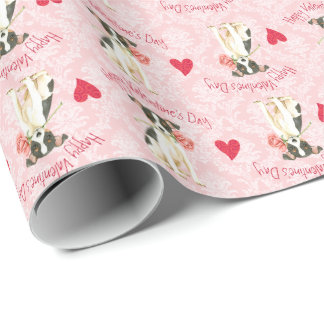 Valentine Rose Toy Fox Terrier Wrapping Paper
