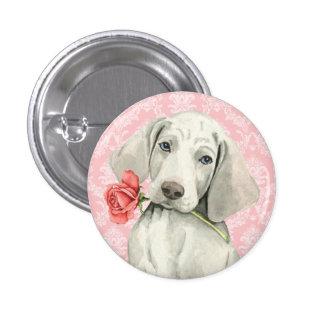 Valentine Rose Weimaraner 1 Inch Round Button