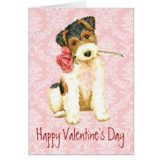 Valentine Rose Wire Fox Terrier Card
