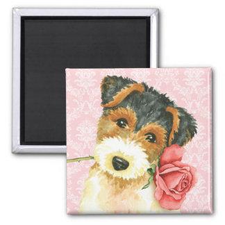 Valentine Rose Wire Fox Terrier Magnet