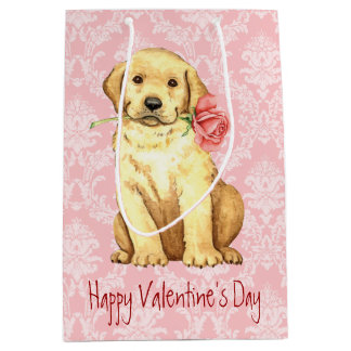 Valentine Rose Yellow Lab Medium Gift Bag