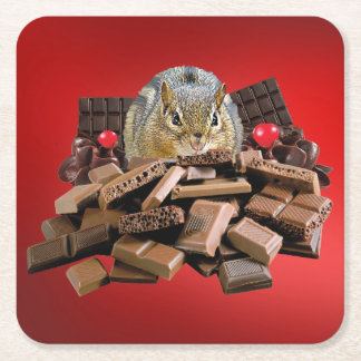 Valentine's Day Chocolate Chipmunk Square Paper Coaster