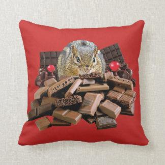 Valentine's Day Chocolate Chipmunk Throw Pillow